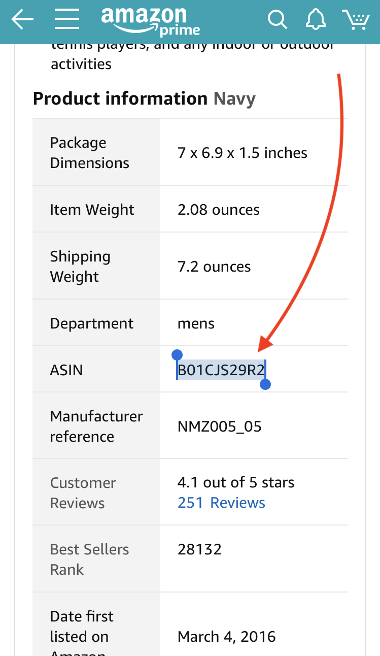 """75f19b8fdf0bde Go to Amazon's site/app and under the """"Product Information"""" section copy  the ASIN value as shown in the screenshot below."""