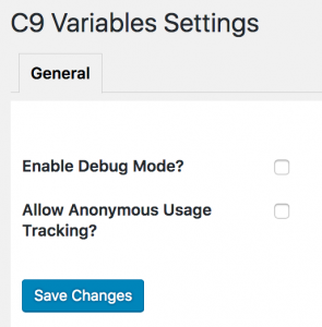 C9 Variables - Settings